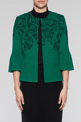 Abstract Floral Bell Sleeve Jacket Color Pine/Black