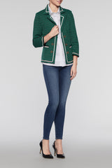 Modern Textured Blazer Color Pine/Black/Ivory