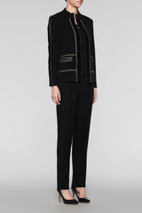 Rouched Trim Zip Jacket Color Black/Cedar