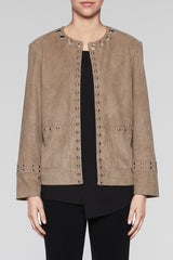 Suede Grommet Trim Jacket Color Cedar