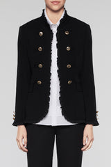 Ruffle Trim Military Jacket Color Black