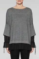 Tiered-Sleeve Tunic Color Black/Woodchip