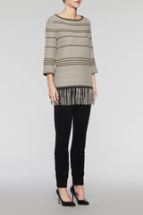 Fringe Knit Tunic  Color Cedar/Woodchip/Black