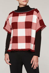 Checked Fringe Tunic Color Bushberry Red/Black/Ivory
