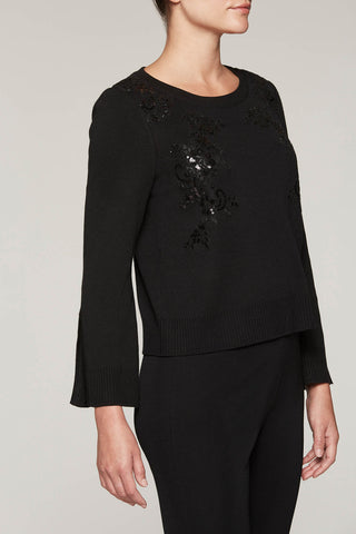 Sequin Appliqué Top Color Black