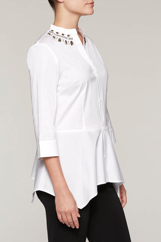 Gem-Accented Split-Neck Blouse Color White