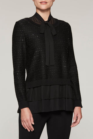 Shimmering Layered Sweater Color Black