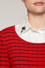 Layered Sweater With Removable Collar Color Bushberry Red/Black/White