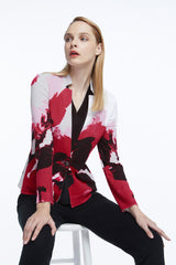 Plus Size Floral Painted Knit Jacket Color Pink Roselle/Black/Candy Pink/White