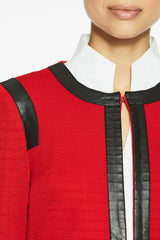 Faux Leather Trim Knit Jacket, Dusk Red Color Dusk Red/Black