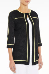 Contrast Trim Knit Jacket – Ming Wang