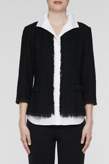 Modern Fit Fringe Knit Jacket, Black