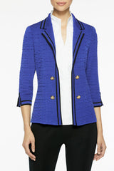 Contrast Trim Textured Knit Blazer, Deep Pond Color Deep Pond Blue/Black