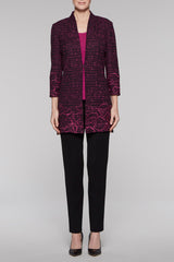 Textured Floral Stitch Long Jacket Color Black/Fireweed