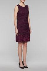 Textured Floral Stitch Dress Color Black/Fireweed
