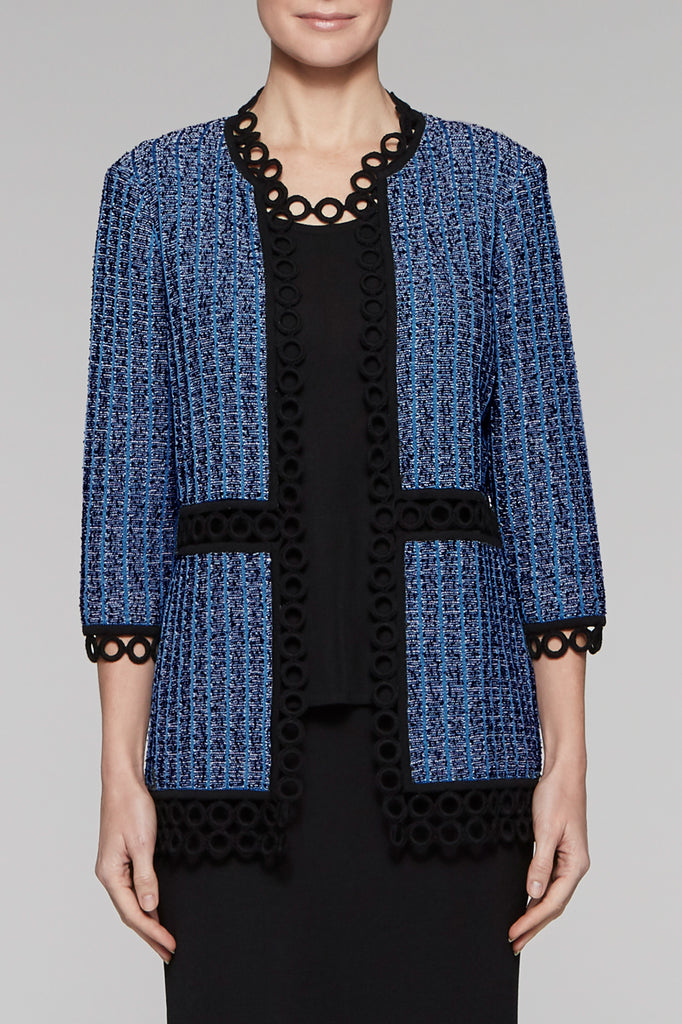 Textured Loop Trim Jacket Color Blue Creek/Black/Ivory