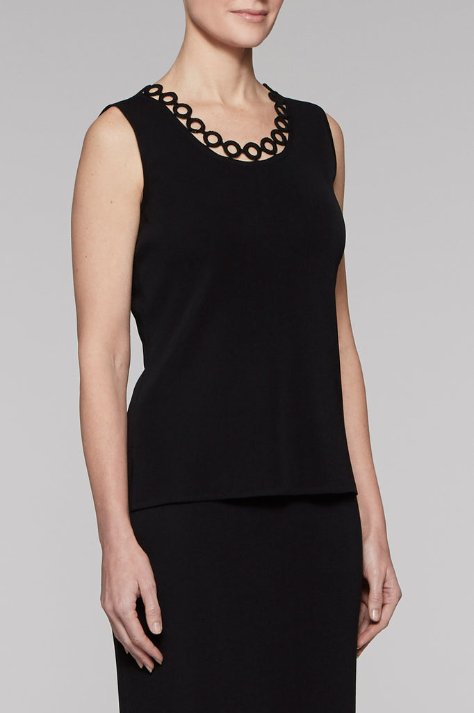 Loop Trim Scoop Neck Tank Color Black