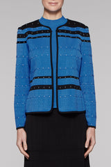 Pointelle Space Jacket Color Blue Creek/Black/Ivory