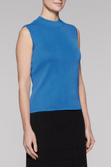 Mock Neck Zip-Back Tank Color Blue Creek