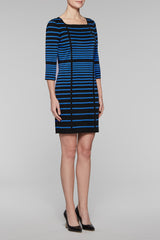 Square Neck Gradient Stripe Dress Color Black/Blue Creek