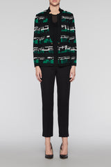 Heritage Print Cardigan Color Black/Ivory/Pine