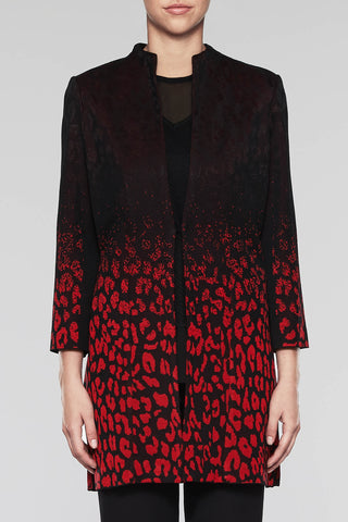 Ombré Jacquard Longline Jacket Color Black/Bushberry Red