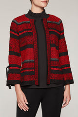 Ribbon Trim Bell Sleeve Jacket Color Bushberry Red/Black/Stonecliff