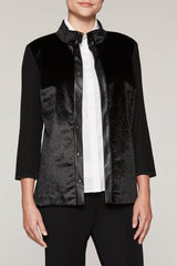 Stand Collar Faux Fur Jacket Color Black