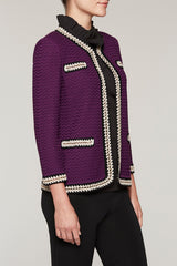 Gold Link Knit Jacket Color Jelly/Black/Chai
