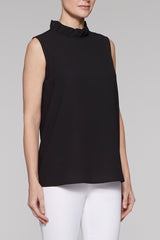 Ruffle Mock Neck Tank Color Black