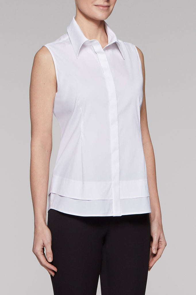 Layered Sleeveless Blouse Color White