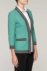 Contrast Piping Jacket Color Sage/Black
