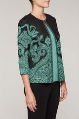Abstract Jacquard Jacket Color Black/Sage