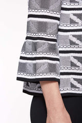 Jacquard-Stitch Combo Jacket Color Black/White