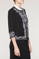 Soutache Trim Jacket Black/White