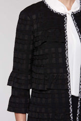 Ruffled Basketweave Jacket Color Black/White