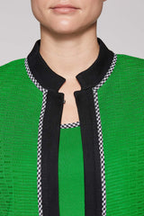 Gingham Trim Pattern Jacket Color Agave Green/Black/White