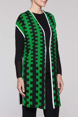 Zig Zag Pattern Vest Color Agave Green/Black/White