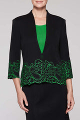 Embroidery Paisley Trim Jacket Color Black/Agave Green