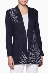 Placed Fern Jacket Color Indigo/White