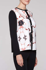 Pattern and Knit Cardigan Color Black/White/Twig Beige/Plumeria Coral