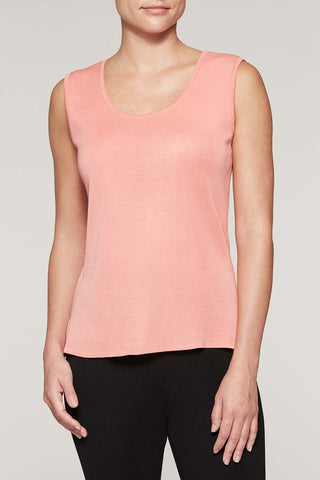 Plumeria Long Scoop Neck Tank Color Plumeria Coral