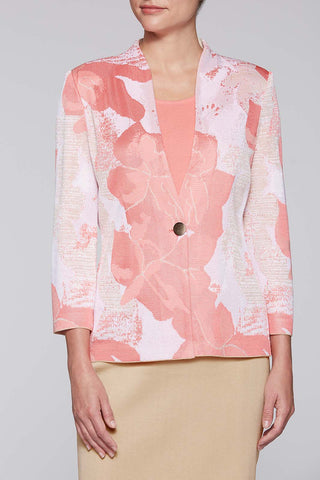 Floral Intarsia Jacket Color Plumeria Coral/Twig Beige/White