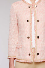 Tweed Button Trim Jacket Color Plumeria Coral/Magnolia/Twig Beige