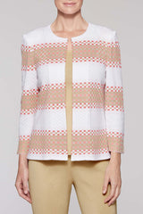 Ombre Stripe Jacket Color Plumeria Coral/Twig Beige/White