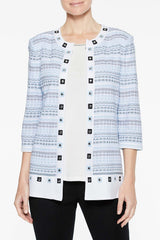 Multi Grommet Detail Jacket Color Iceberg Blue/Black/White