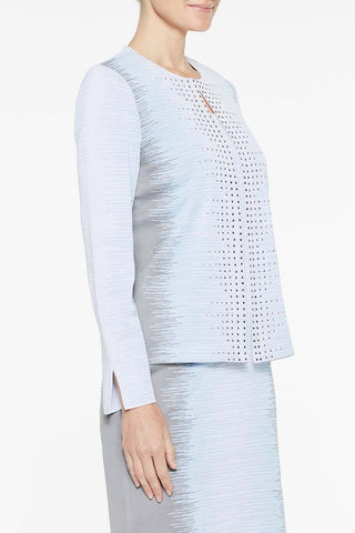 Ombre Embellished Jacket Color Iceberg Blue/Mercury Grey/White