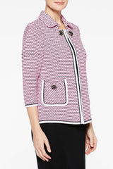 Tweed Contrast Trim Jacket Color Black/Bubblegum Pink