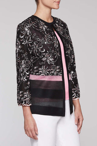 Floral Swirl Jacket Color Black/Bubblegum Pink