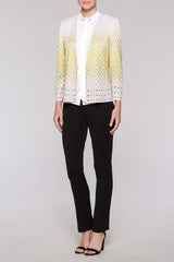 Stone Grommet Trim Jacket Color Lemonade Yellow/Black/Tan Safari